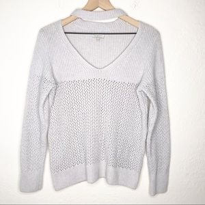 Lucky Brand Gray Open Knit V Neck Collared Sweater